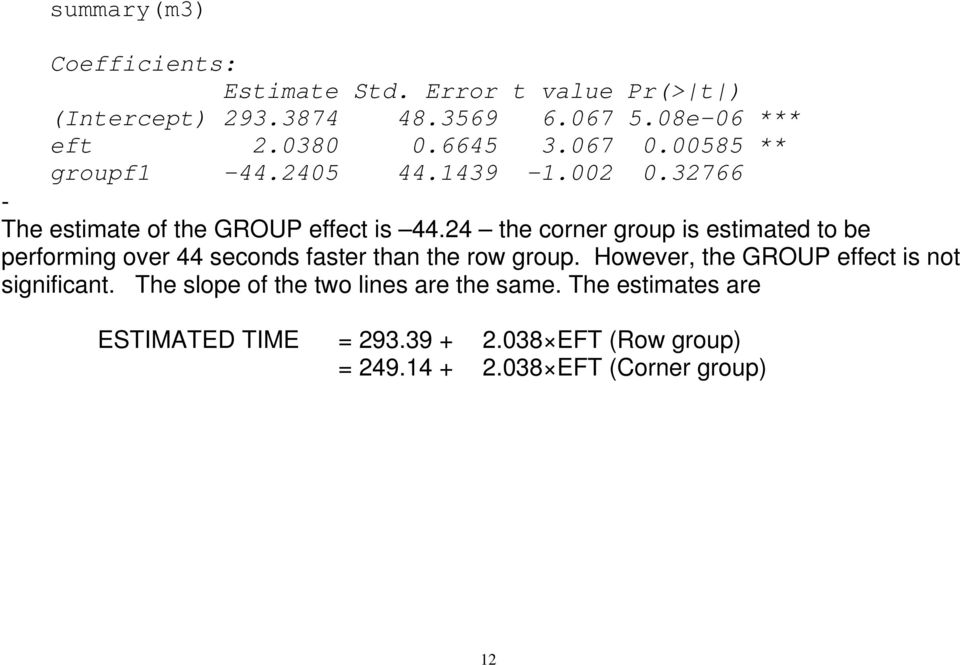 24 the corner group is estimated to be performing over 44 seconds faster than the row group.