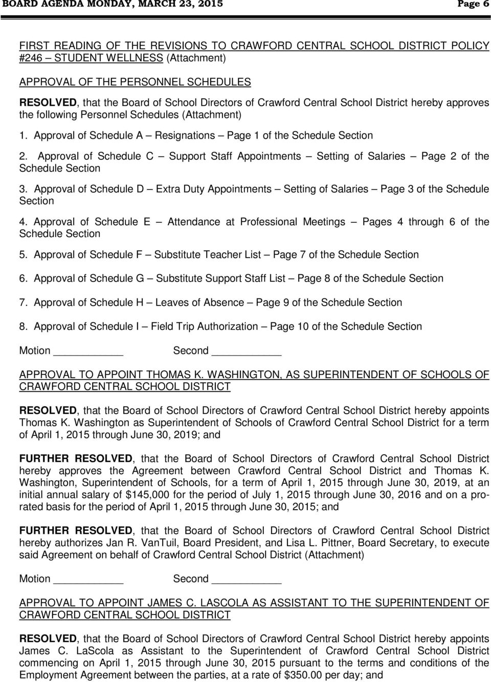 Approval of Schedule C Support Staff Appointments Setting of Salaries Page 2 of the Schedule Section 3.