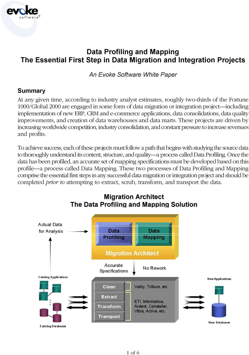 consolidations, data quality improvements, and creation of data warehouses and data marts.