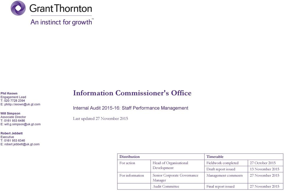 com Information Commissioner's Office Internal Audit 2015-16: Staff Performance Management Last updated 27 November 2015 Robert Jebbett Executive T: 0161