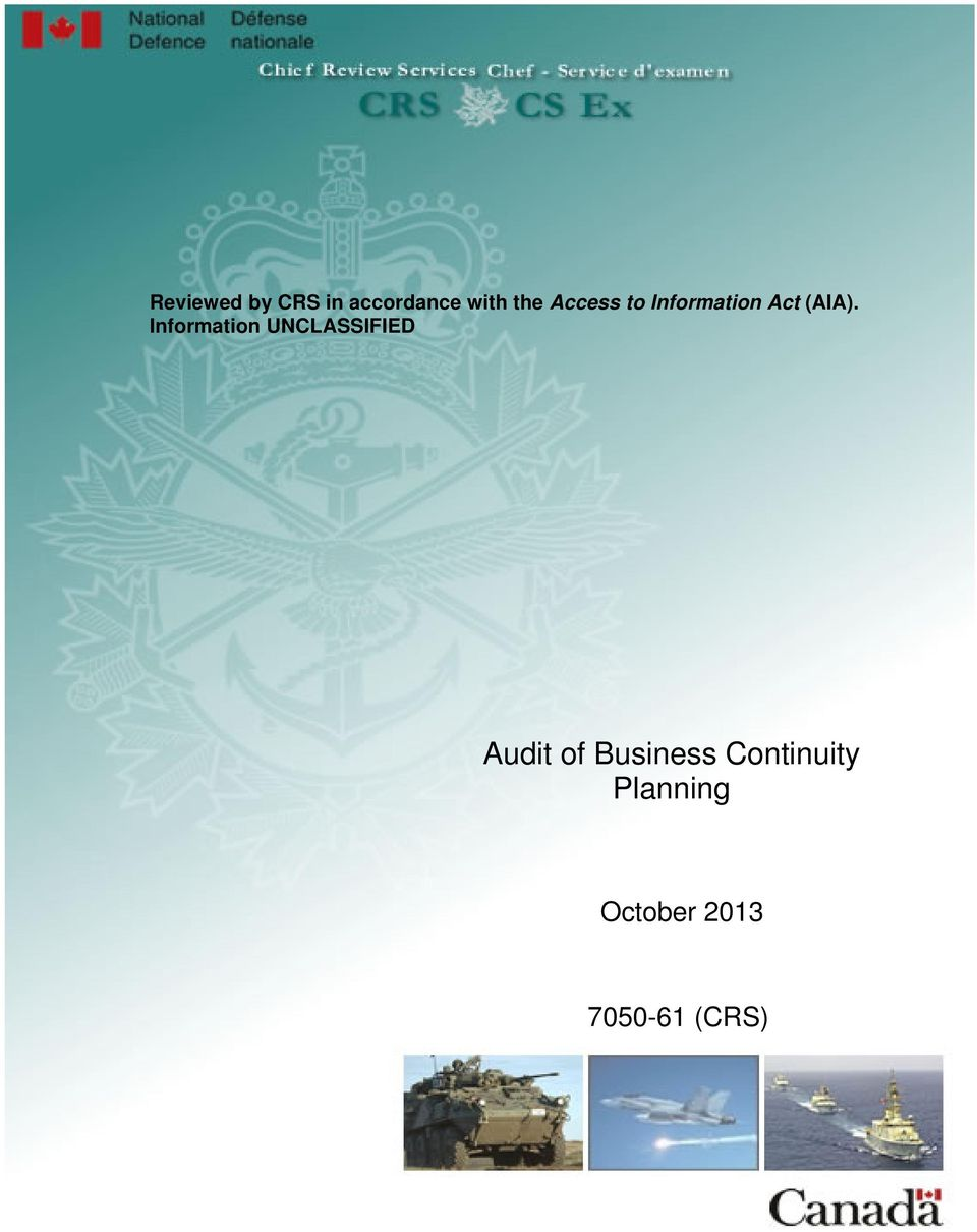 Information UNCLASSIFIED Audit of Business