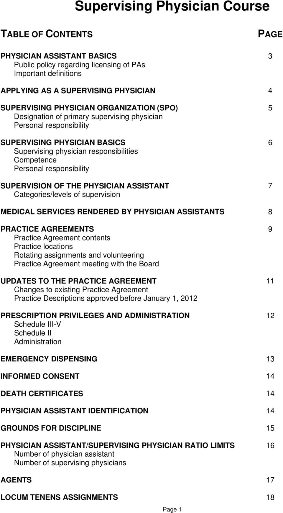 responsibility SUPERVISION OF THE PHYSICIAN ASSISTANT 7 Categories/levels of supervision MEDICAL SERVICES RENDERED BY PHYSICIAN ASSISTANTS 8 PRACTICE AGREEMENTS 9 Practice Agreement contents Practice