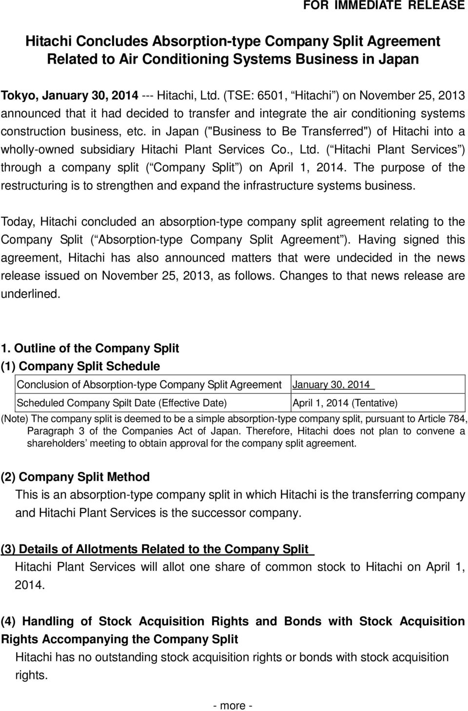 "in Japan (""Business to Be Transferred"") of Hitachi into a wholly-owned subsidiary Hitachi Plant Services Co., Ltd."