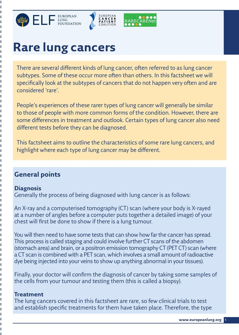 People s experiences of these rarer types of lung cancer will generally be similar to those of people with more common forms of the condition.