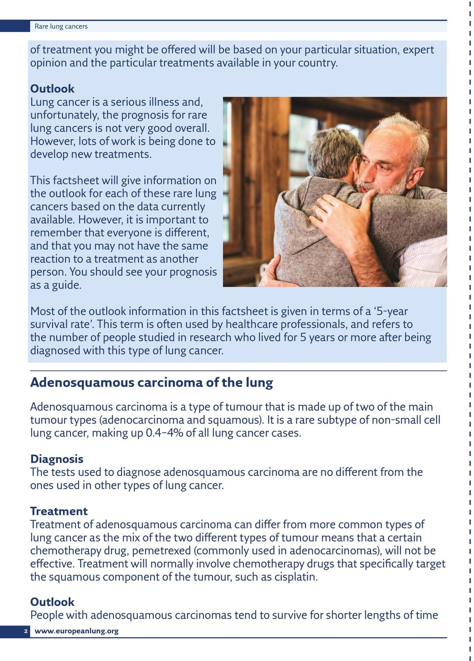 This factsheet will give information on the outlook for each of these rare lung cancers based on the data currently available.