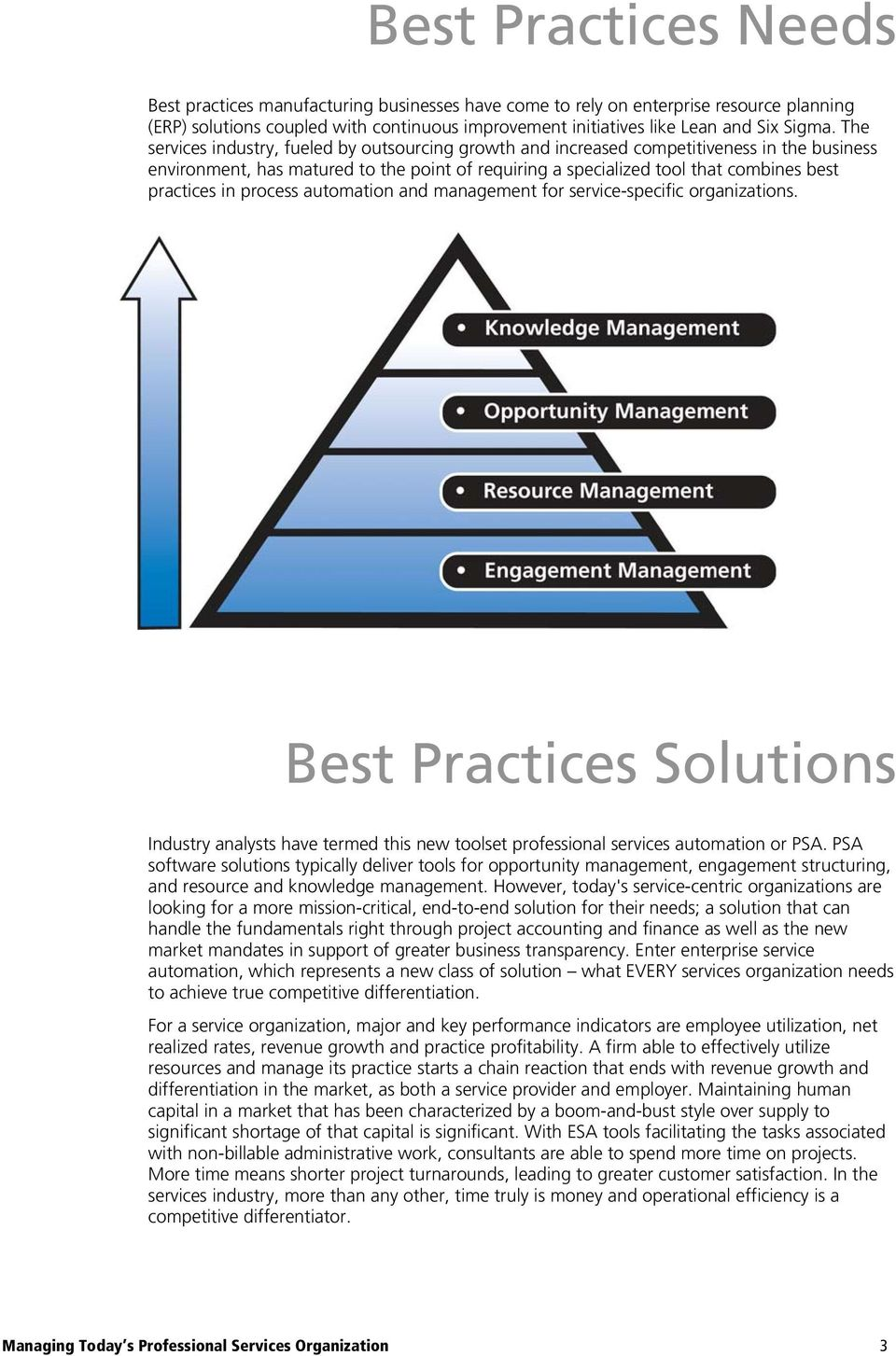 process automation and management for service-specific organizations. Best Practices Solutions Industry analysts have termed this new toolset professional services automation or PSA.
