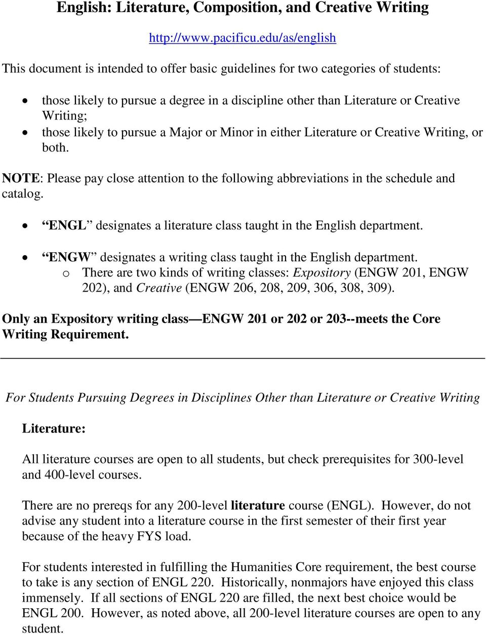 likely to pursue a Major or Minor in either Literature or Creative Writing, or both. NOTE: Please pay close attention to the following abbreviations in the schedule and catalog.