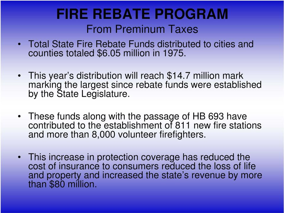 These funds along with the passage of HB 693 have contributed to the establishment of 811 new fire stations and more than 8,000 volunteer firefighters.