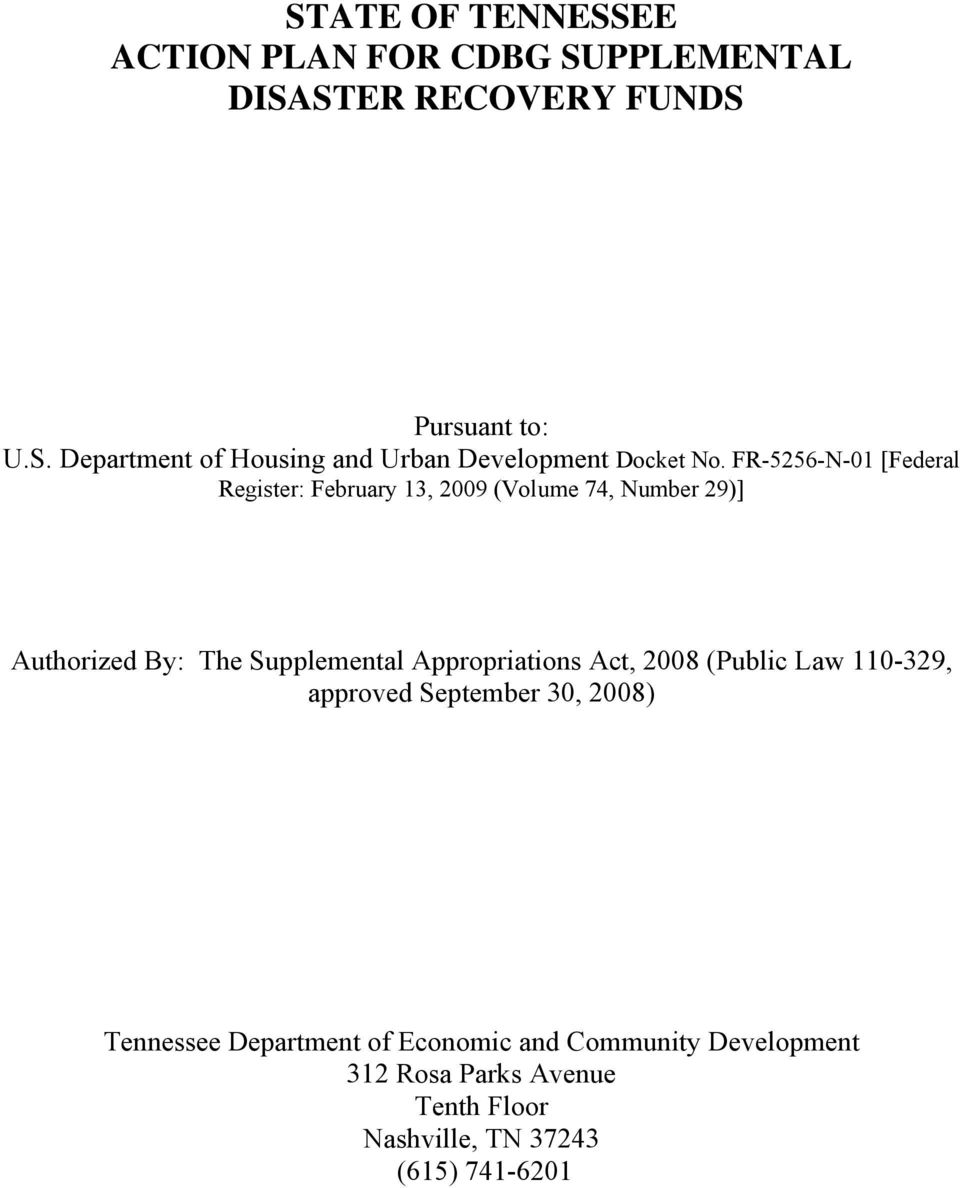 Appropriations Act, 2008 (Public Law 110-329, approved September 30, 2008) Tennessee Department of Economic and