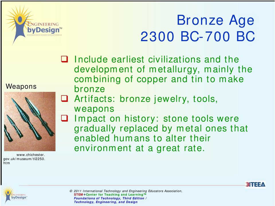 copper and tin to make bronze Artifacts: bronze jewelry, tools, weapons Impact on history: