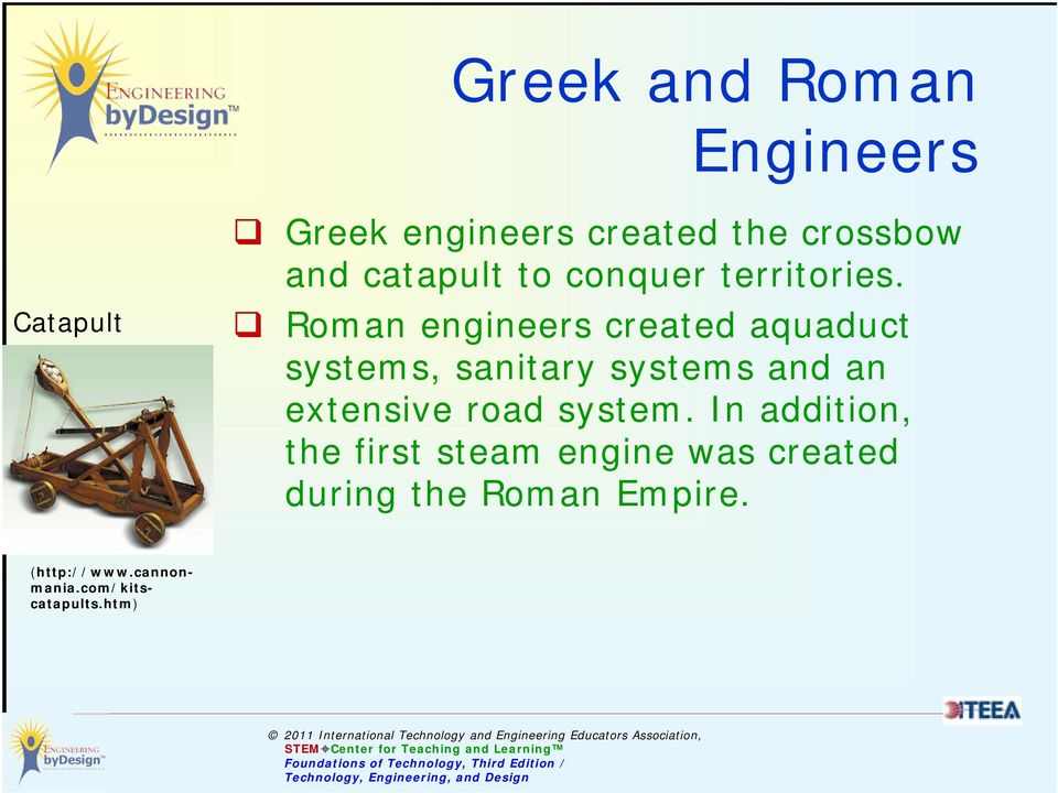 Roman engineers created aquaduct systems, sanitary systems and an extensive