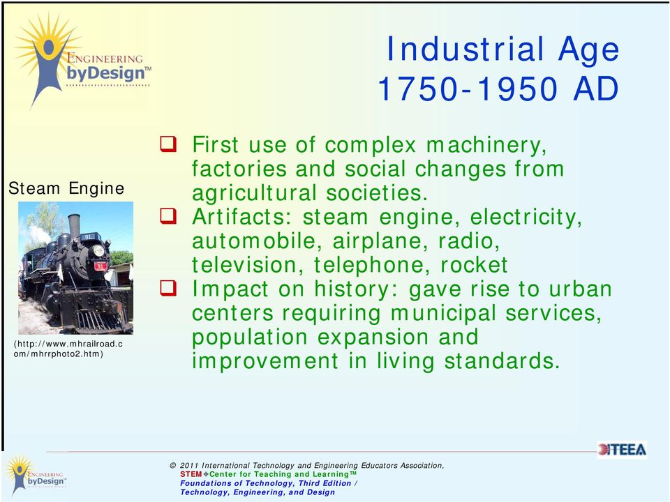 Artifacts: steam engine, electricity, automobile, airplane, radio, television, telephone, rocket