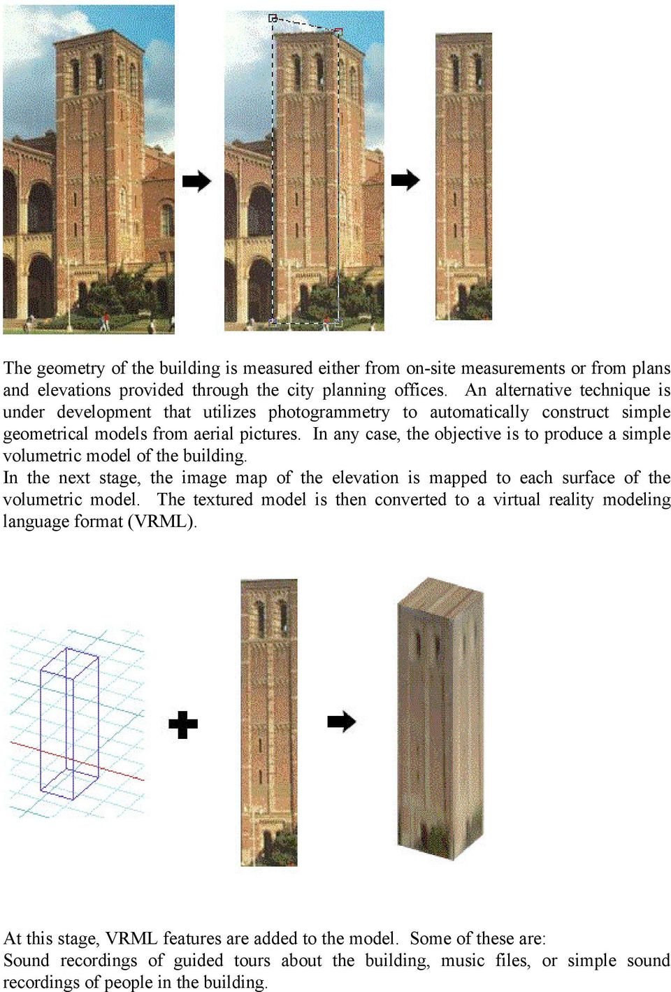 In any case, the objective is to produce a simple volumetric model of the building. In the next stage, the image map of the elevation is mapped to each surface of the volumetric model.