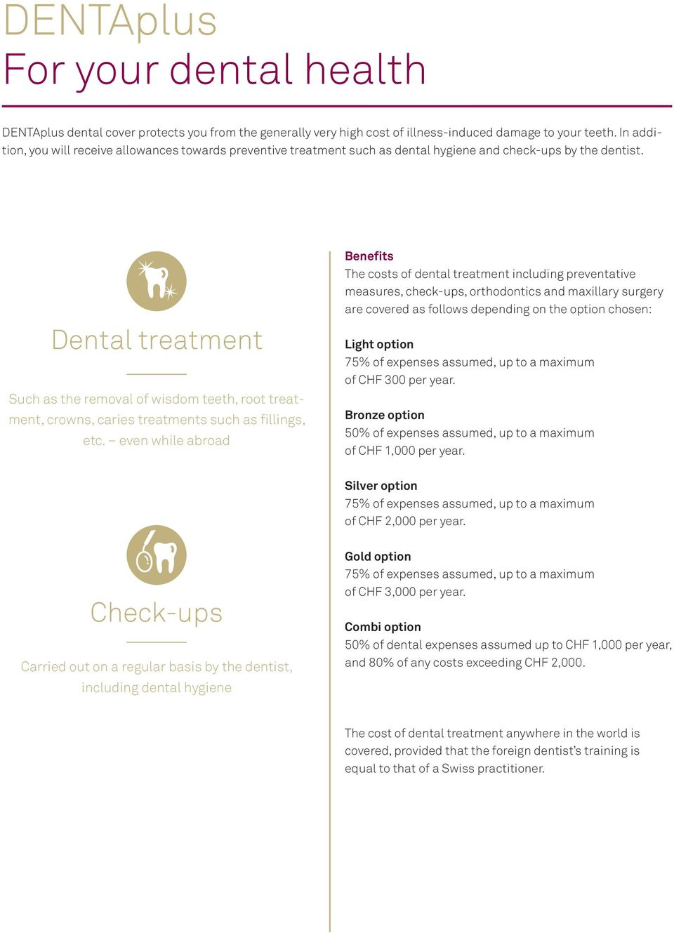 Dental treatment Such as the removal of wisdom teeth, root treatment, crowns, caries treatments such as fillings, etc.