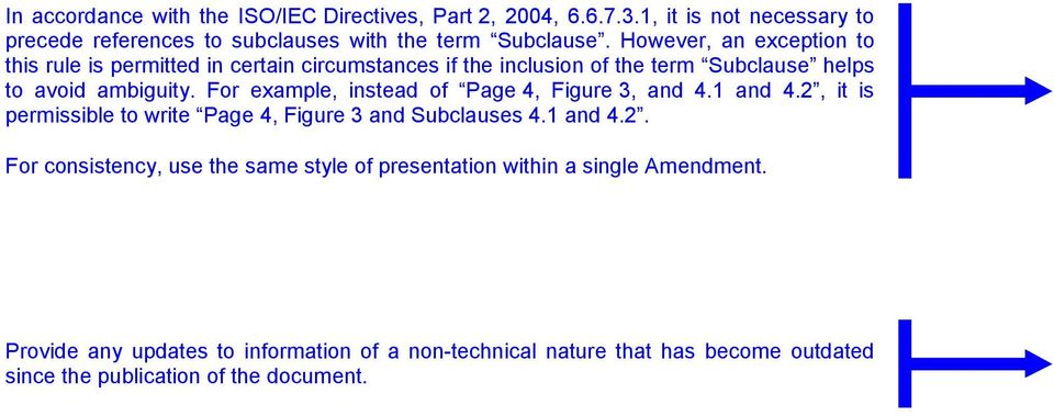 For example, instead of Page 4, Figure 3, and 4.1 and 4.2, it is permissible to write Page 4, Figure 3 and Subclauses 4.1 and 4.2. For consistency, use the same style of presentation within a single Amendment.