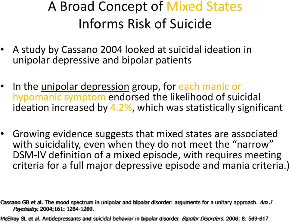 2%, which was statistically significant Growing evidence suggests that mixed states are associated with suicidality, even when they do not meet the narrow DSM IV definition of a mixed episode, with