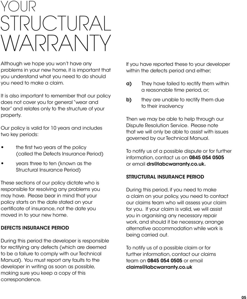 03 Who is LABC Warranty? 05 Your Structural Warranty  06 Running in