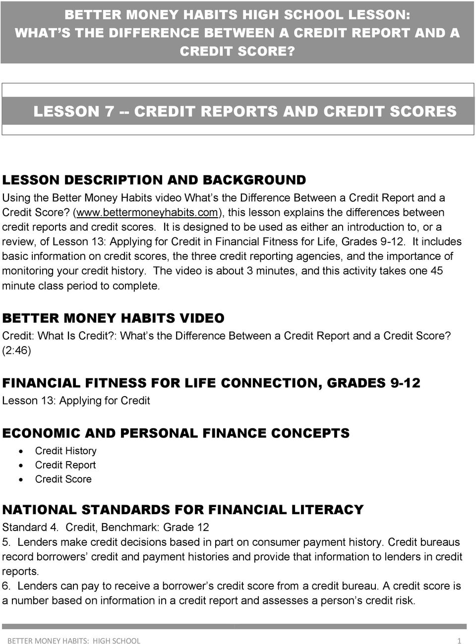 It is designed to be used as either an introduction to, or a review, of Lesson 13: Applying for Credit in Financial Fitness for Life, Grades 9-12.