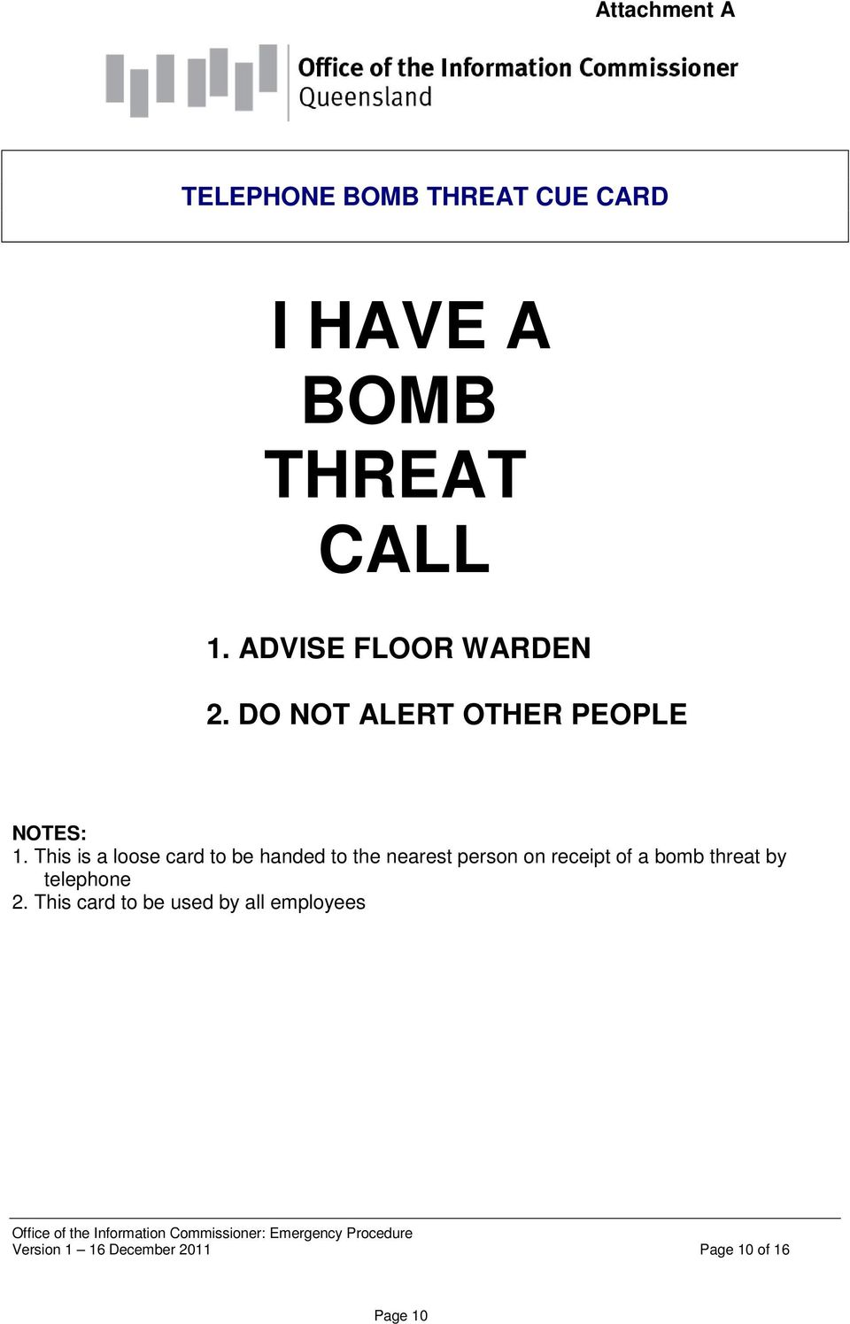 This is a loose card to be handed to the nearest person on receipt of a bomb