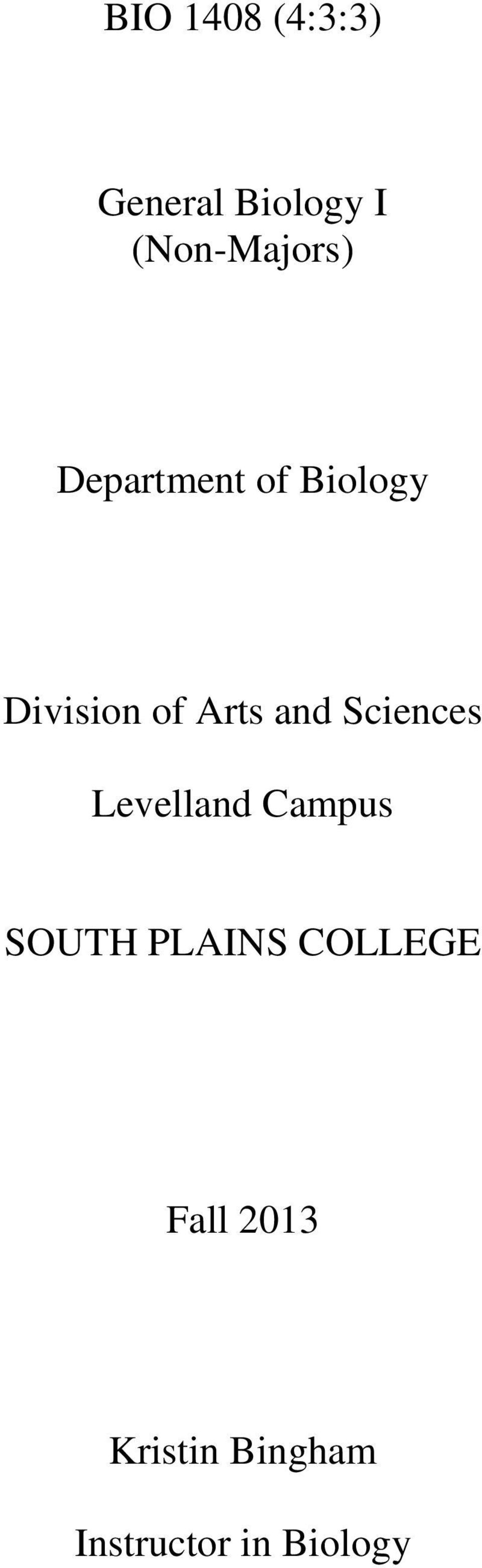 Arts and Sciences Levelland Campus SOUTH