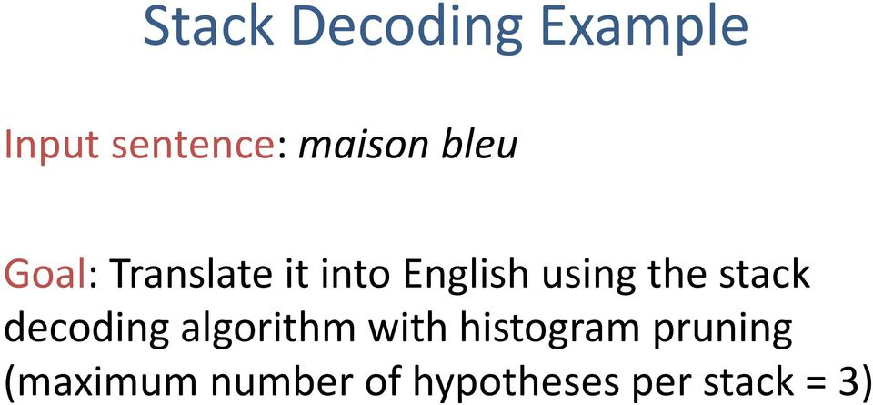 stack decoding algorithm with histogram