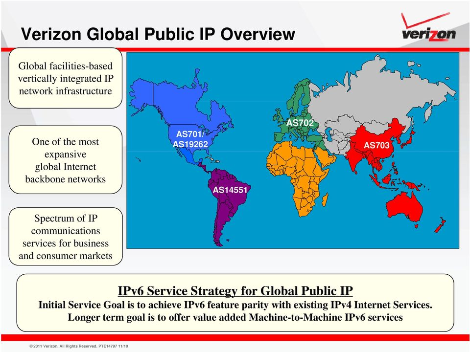 business and consumer markets IPv6 Service Strategy for Global Public IP Initial i Service Goal lis to achieve IPv6