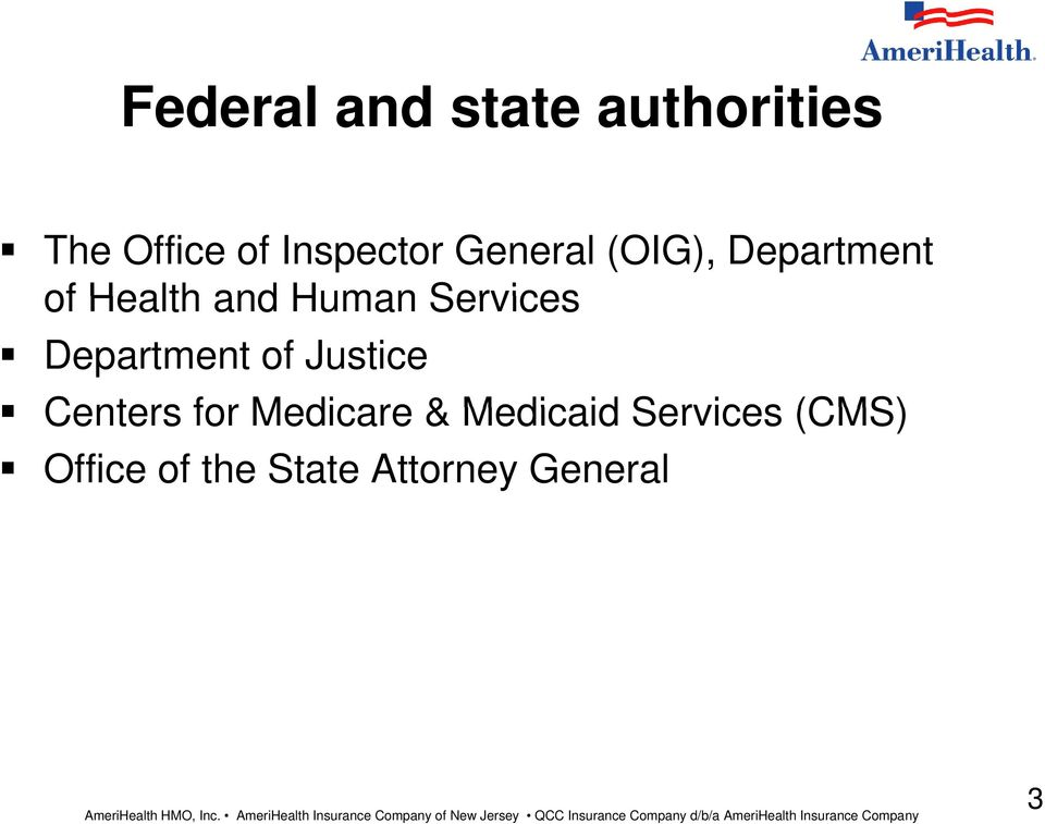 Services Department of Justice Centers for Medicare &