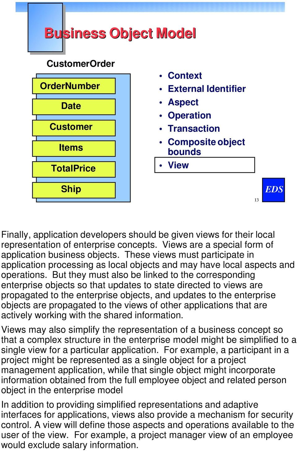 These views must participate in application processing as local objects and may have local aspects and operations.