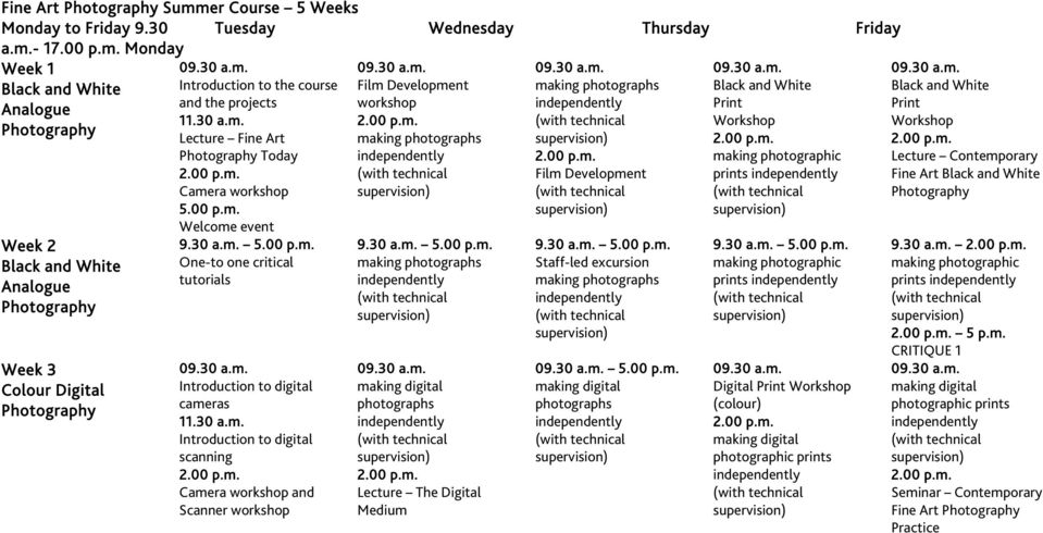 Lecture Fine Art Today Camera workshop 5.00 p.m. Welcome event One-to one critical Introduction to digital cameras 11.