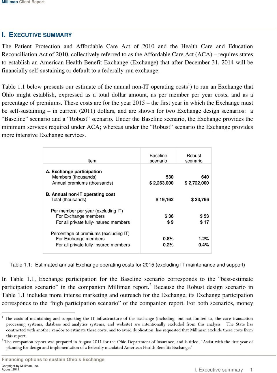 1 below presents our estimate of the annual non-it operating costs 1 ) to run an Exchange that Ohio might establish, expressed as a total dollar amount, as per member per year costs, and as a