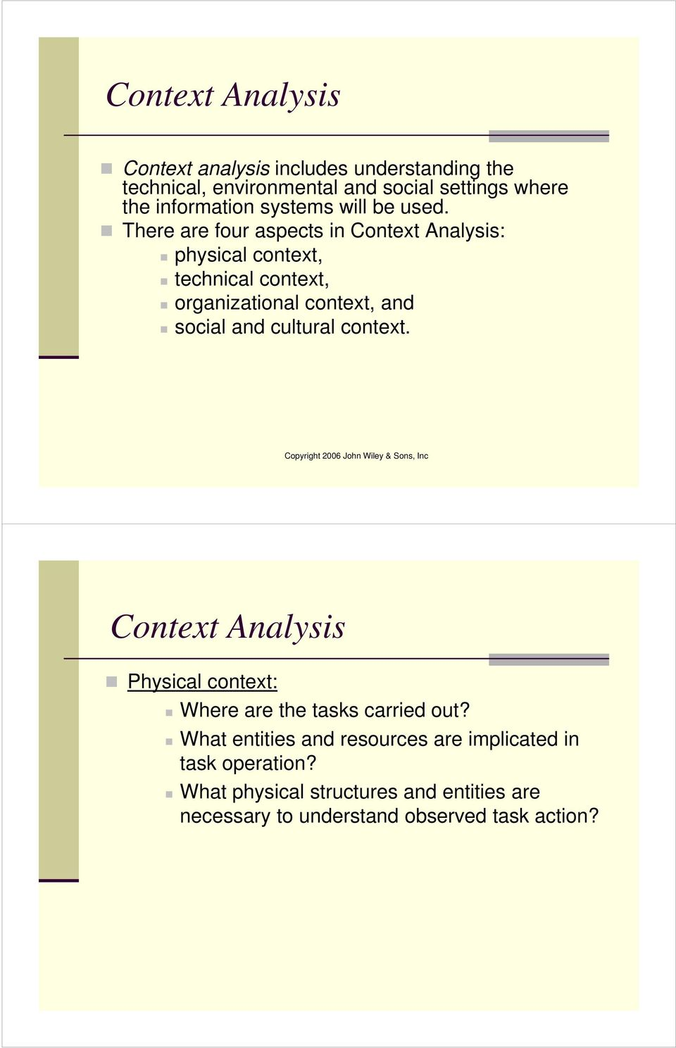 There are four aspects in Context Analysis: physical context, technical context, organizational context, and social and