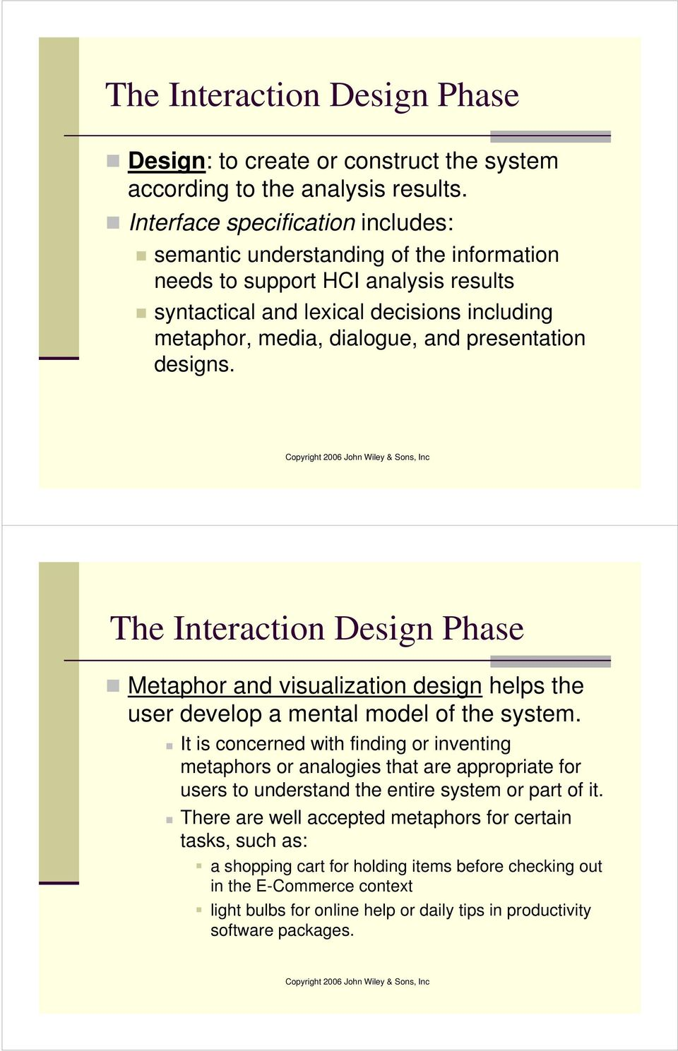 presentation designs. The Interaction Design Phase Metaphor and visualization design helps the user develop a mental model of the system.