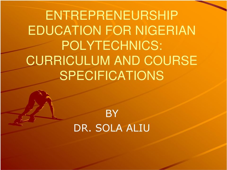 CURRICULUM AND COURSE