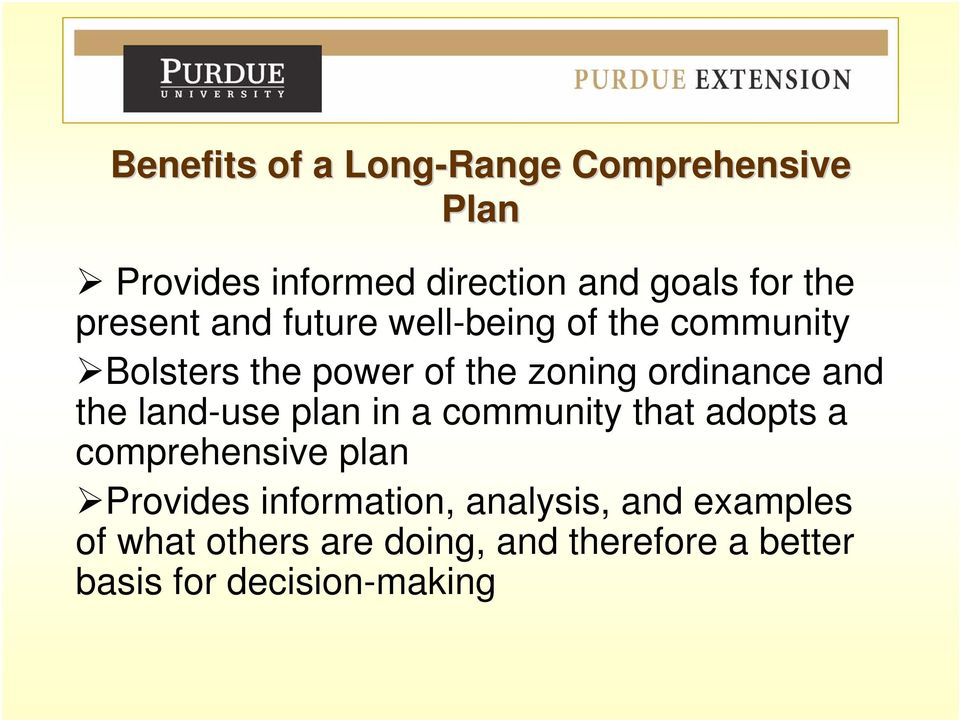 and the land-use plan in a community that adopts a comprehensive plan Provides information,