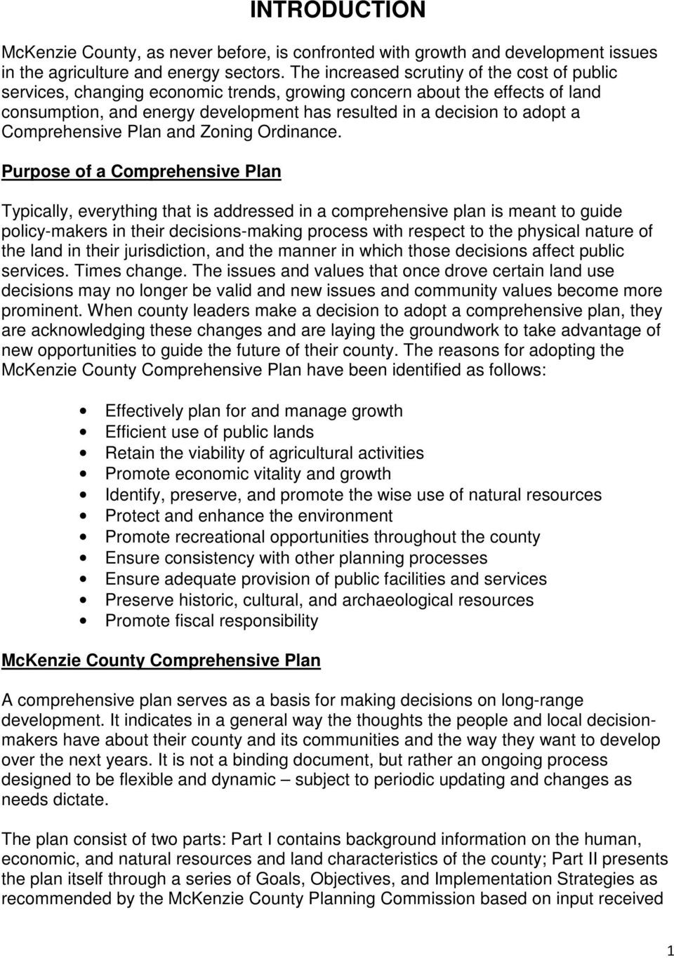 Comprehensive Plan and Zoning Ordinance.