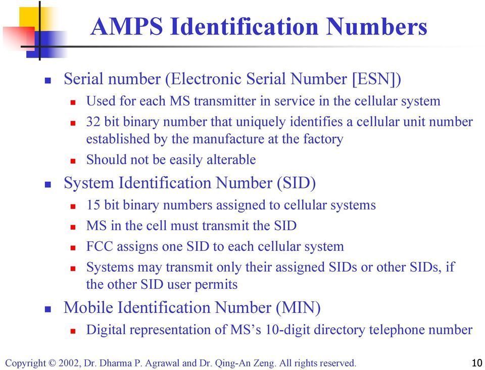 15 bit binary numbers assigned to cellular systems MS in the cell must transmit the SID FCC assigns one SID to each cellular system Systems may transmit only