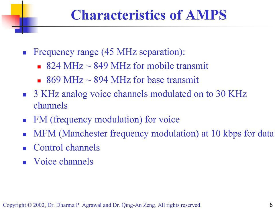 channels modulated on to 30 KHz channels FM (frequency modulation) for voice MFM