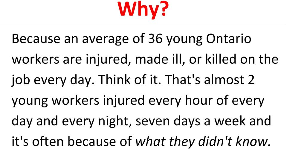 That's almost 2 young workers injured every hour of every day and