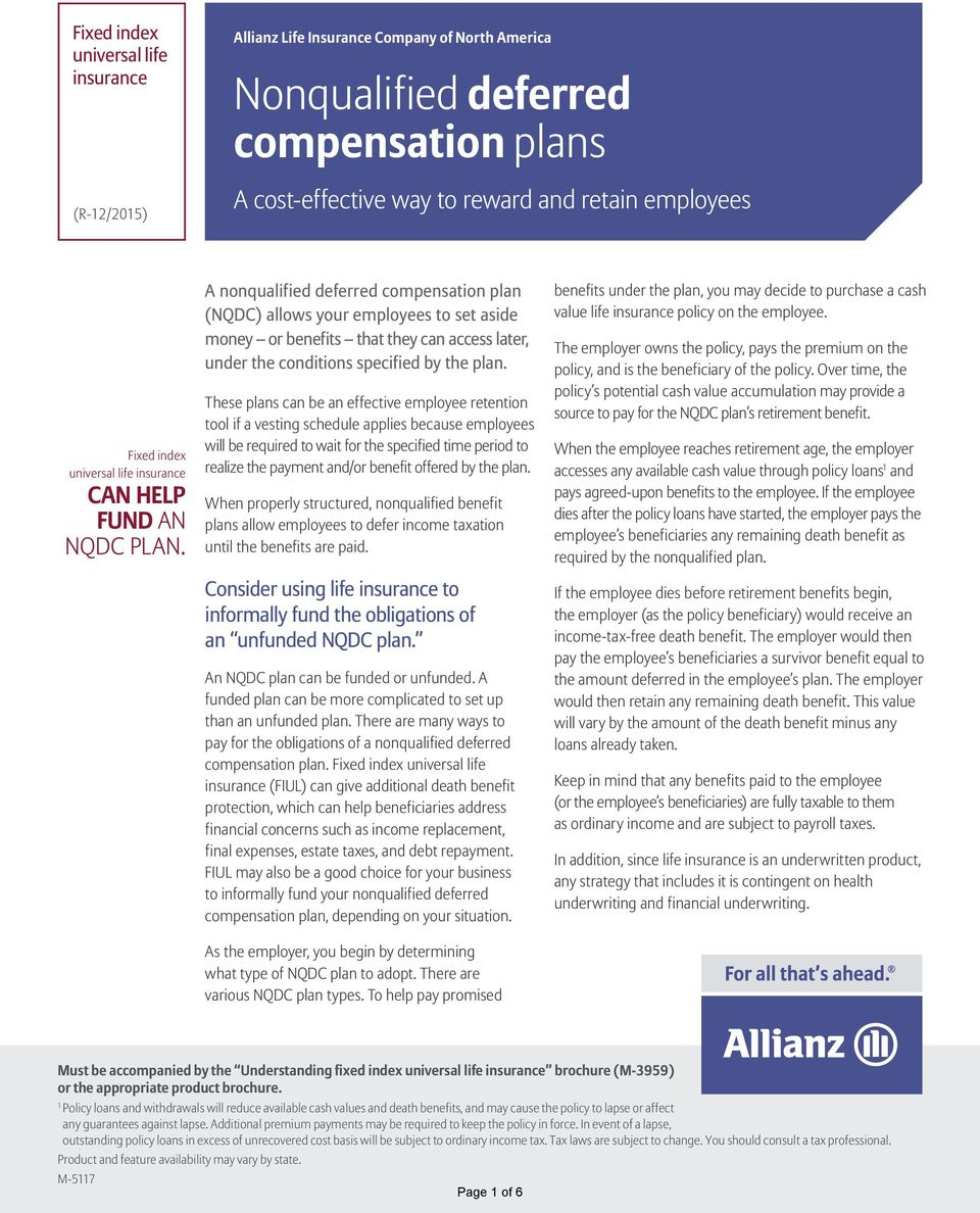 A nonqualified deferred compensation plan (NQDC) allows your employees to set aside money or benefits that they can access later, under the conditions specified by the plan.