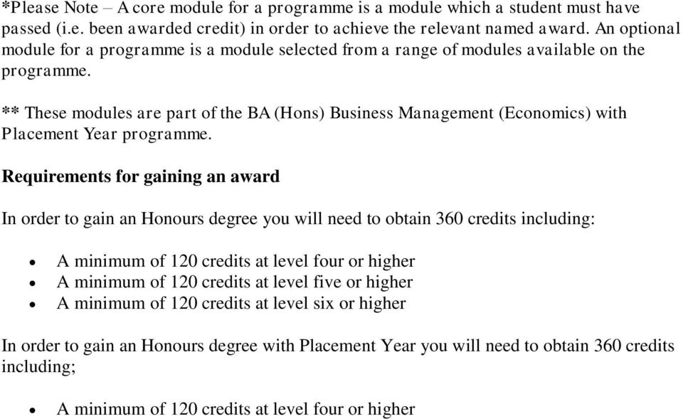 ** These modules are part of the BA (Hons) Business Management (Economics) with Placement Year programme.