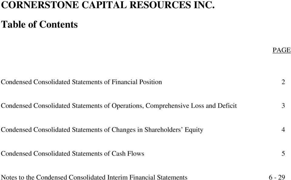 Comprehensive Loss and Deficit 3 Condensed Consolidated Statements of