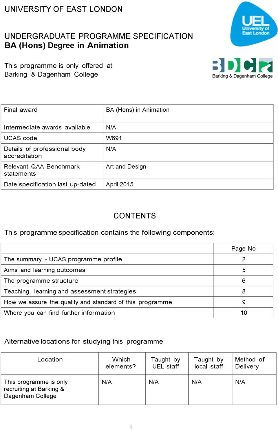 This programme specification contains the following components: Page No The summary - UCAS programme profile 2 Aims and learning outcomes 5 The programme structure 6 Teaching, learning and assessment