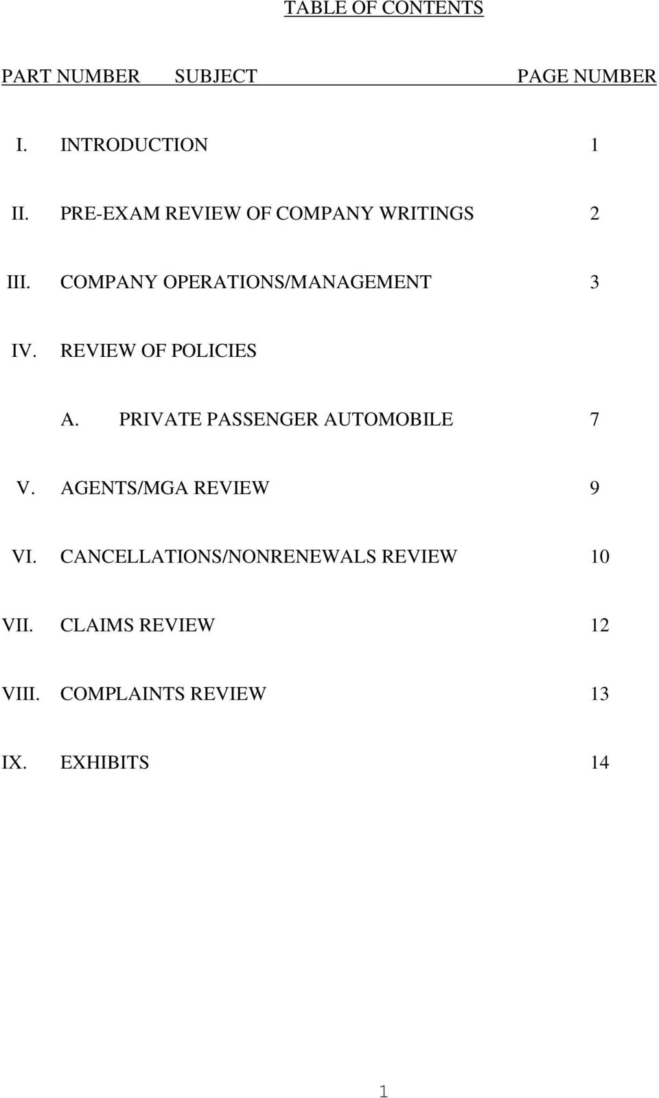 REVIEW OF POLICIES A. PRIVATE PASSENGER AUTOMOBILE 7 V. AGENTS/MGA REVIEW 9 VI.