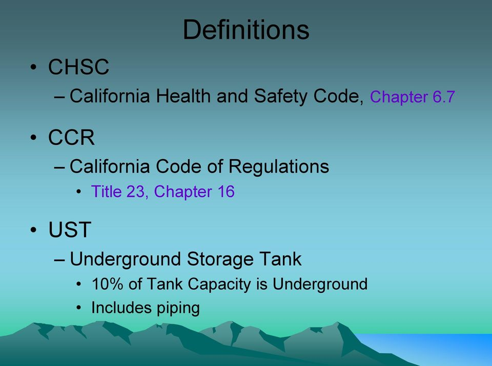 7 CCR California Code of Regulations UST Title