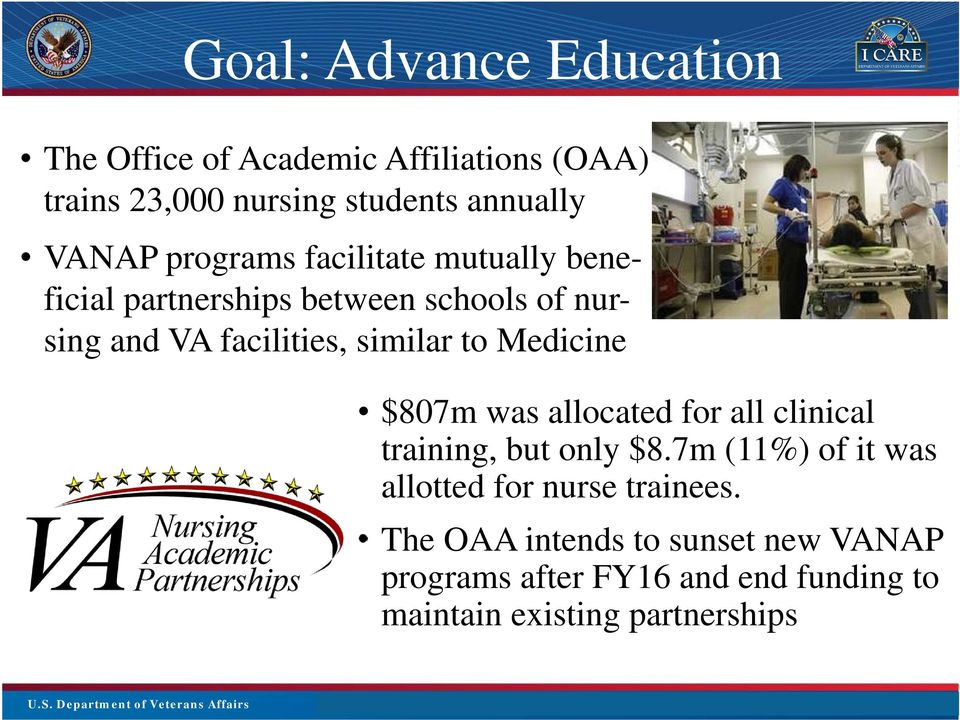 Click to edit Master Intro Sub Title $807m was allocated for all clinical training, but only $8.