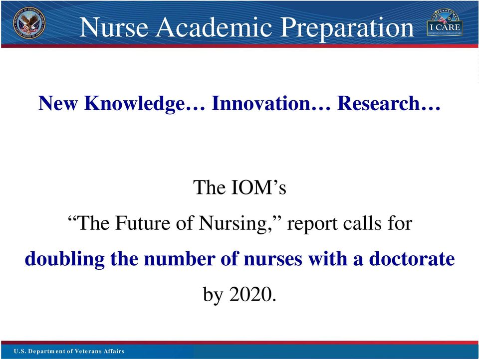 Title The IOM s The Future of Nursing, report