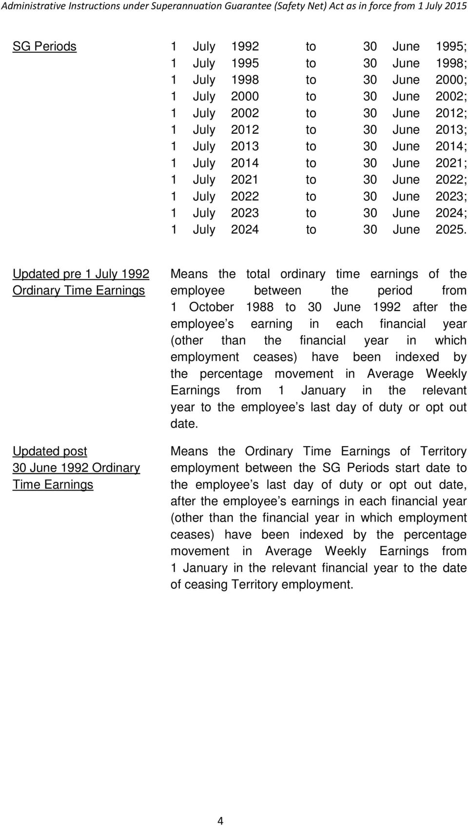 Updated pre 1 July 1992 Means the total ordinary time earnings of the Ordinary Time Earnings employee between the period from 1 October 1988 to 30 June 1992 after the employee s earning in each