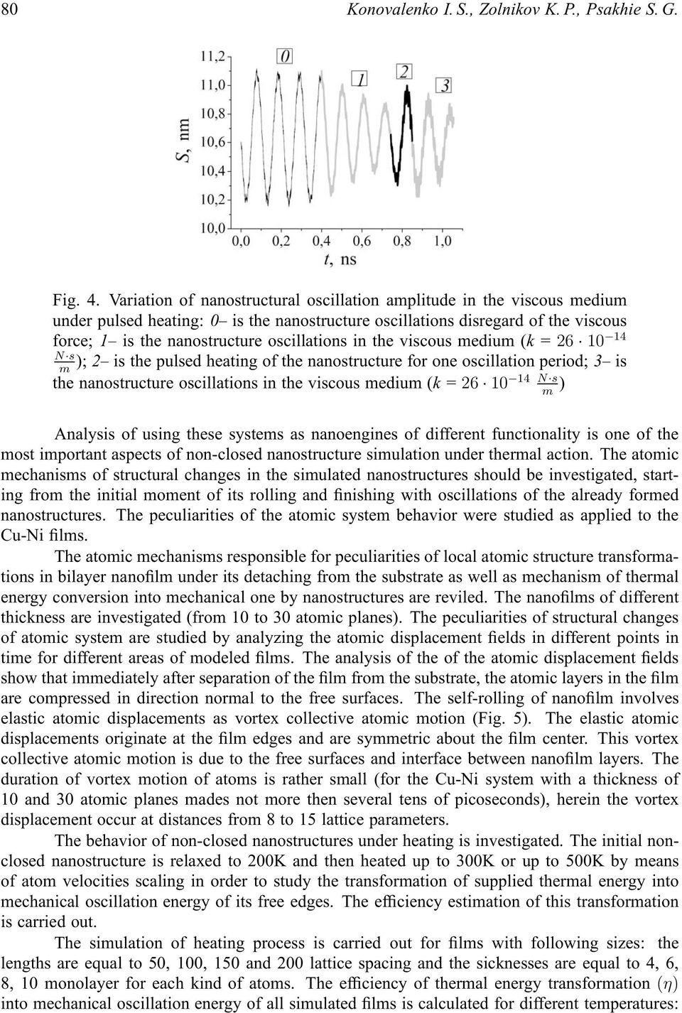 in the viscous medium (k = 26 10 14 N s); 2 is the pulsed heating of the nanostructure for one oscillation period; 3 is m 14 N s the nanostructure oscillations in the viscous medium (k = 26 10