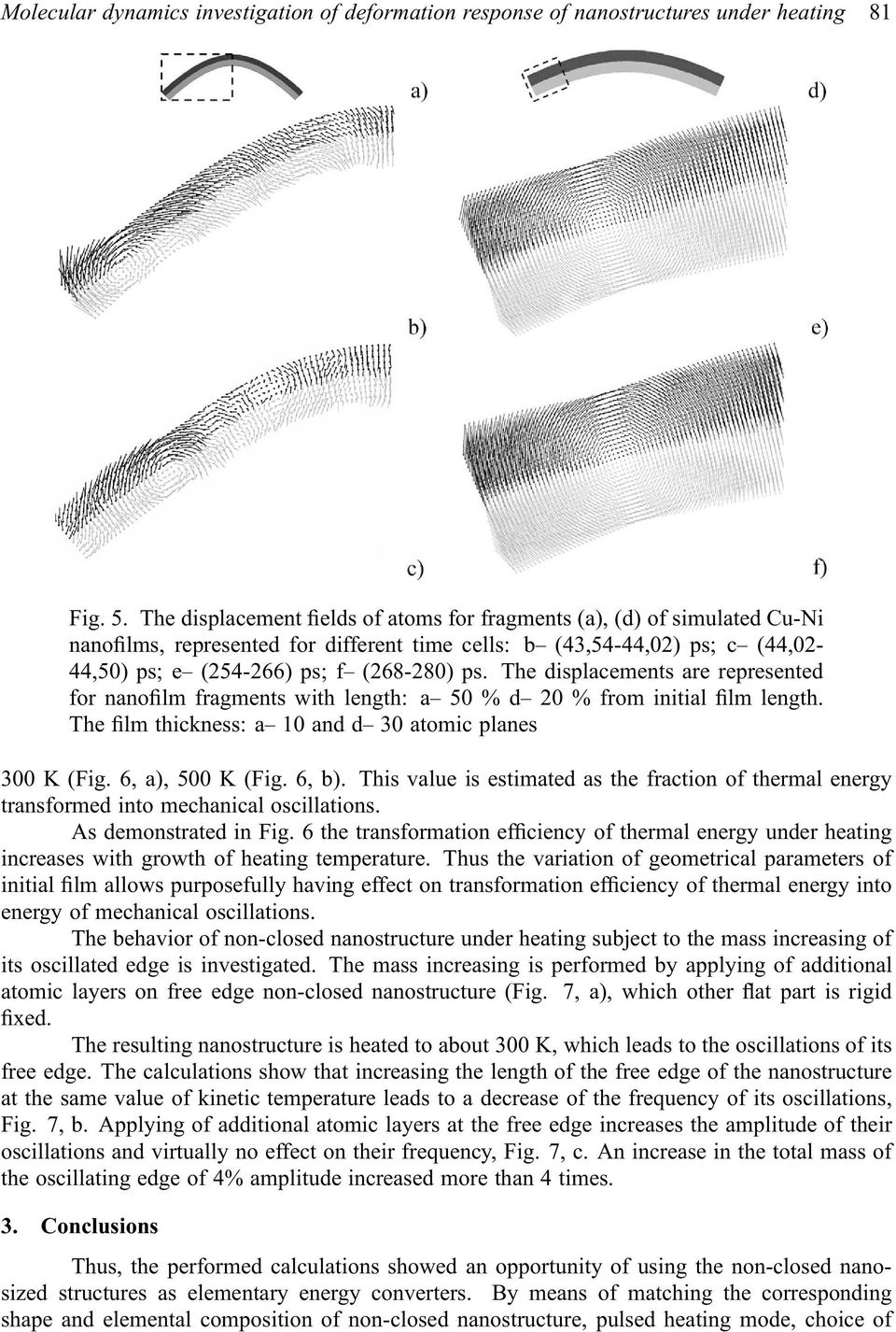 The displacements are represented for nanofilm fragments with length: a 50 % d 20 % from initial film length. The film thickness: a 10 and d 30 atomic planes 300 K (Fig. 6, a), 500 K (Fig. 6, b).