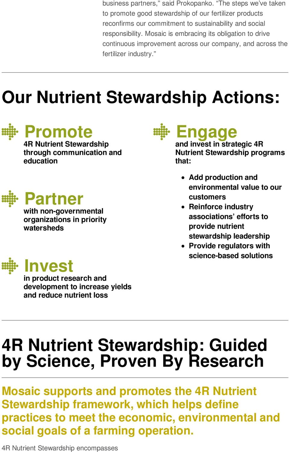 Our Nutrient Stewardship Actions: Promote 4R Nutrient Stewardship through communication and education Engage and invest in strategic 4R Nutrient Stewardship programs that: Partner with